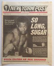 4-13-1989 NEW YORK POST NEWSPAPER BOXING GREAT SUGAR RAY ROBINSON DEAD AT 67