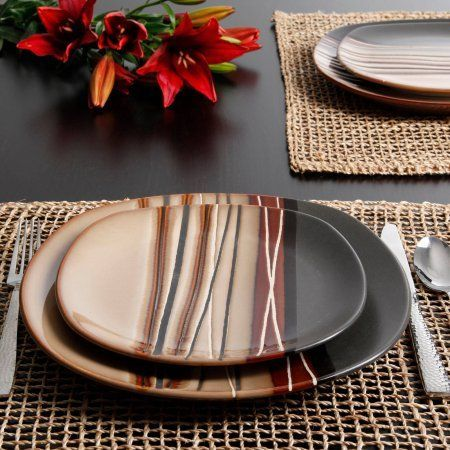 Better Homes and Gardens Bazaar Brown 16-Piece Dinnerware Set - Walmart.com