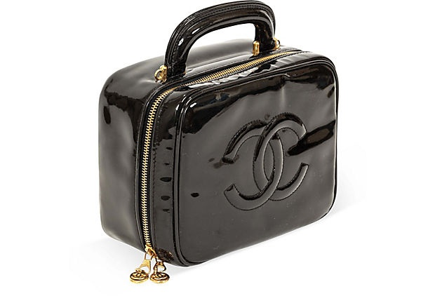 Chanel Black Patent Leather Vanity Case on OneKingsLane.com