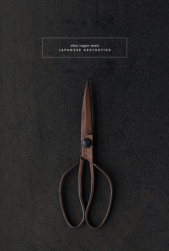 """Copper scissors and a black blind fold in a box for the direct mailer. """"Copper Heist Survival Guide"""""""