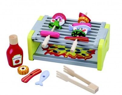 Wooden Barbeque With 18 Piece Accessories Set