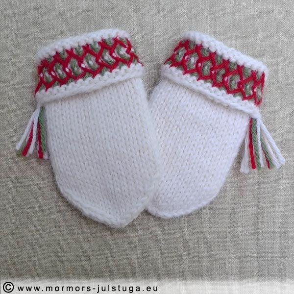 Lovikkavantar för baby stickade i alpackagarn. Mittens for baby knitted in alpacka yarn. Lovikka pattern. Swedish handikraft.
