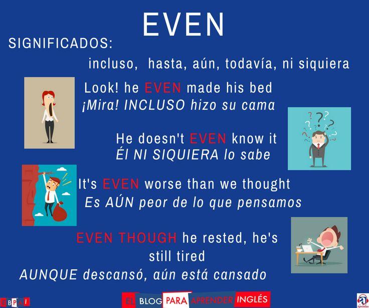 ¿Cómo se usa EVEN? https://blogdelingles.com/como-se-usa-even/