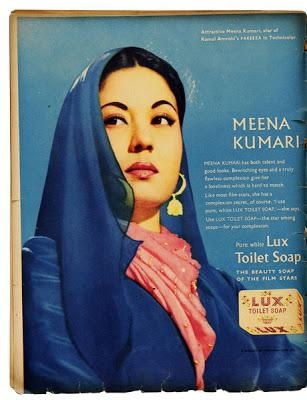 Meena Kumari in ad advert for Lux Soap - http://media.paperblog.fr/i/605/6055608/publicites-vintage-L-WLHhGP.jpeg  - ♥ Rhea Khan