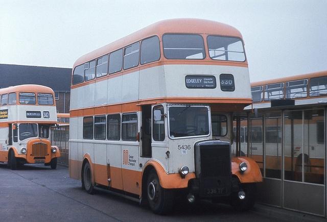 Leyland Titan PD2 (Greater Manchester Transport, late Ashton-under-Lyne Corporation Transport), Ashton-under-Lyne bus station, 1975. Photograph by BKP550.