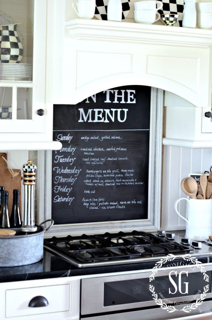 farmhouse kitchen chalkboard above the cooktop with stone rh pinterest ca