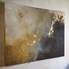 "Large Painting Gold Leaf Abstract Yellow and Brown – 30″ x 40″ – ""Aerial Storm"""
