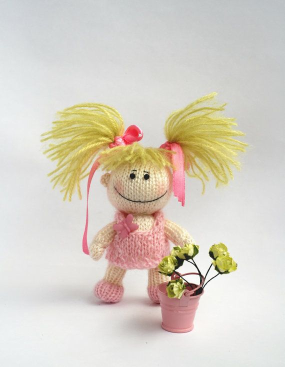 Small funny gardener Doll in the pink dress pdf by deniza17, $4.00