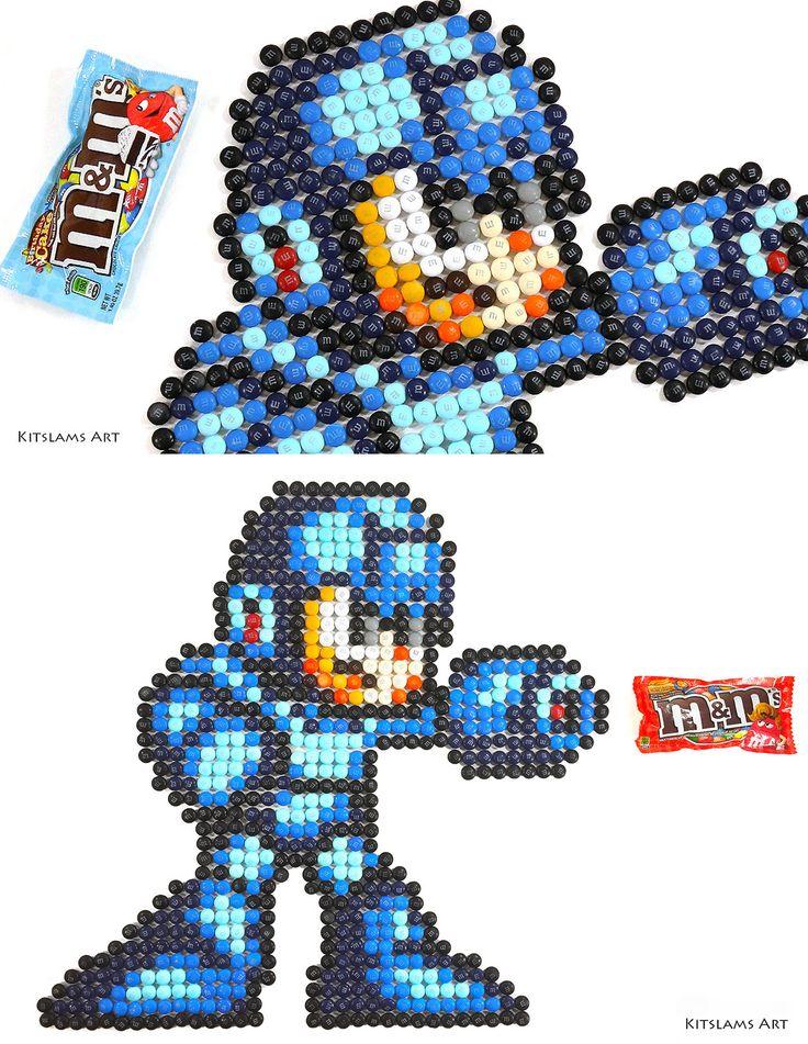 https://flic.kr/p/Vep9DP | MegaMan M&M Mosaic | Progress photos of my  Mega Man M&M Mosaic. Watch the Video: youtu.be/wCDyF7u0f3U