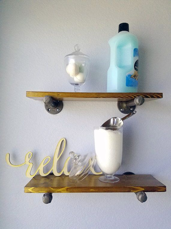 Floating rustic industrial pipe shelf storage, home decor, farmhouse decor