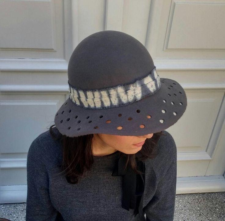 Excited to share the latest addition to my #etsy shop: Dark Gray Shibori Hat, Felt Handmade Hat, Garden Sun Hats, Women's Winter Hat, Boho hat, Stylish Womens Hat, Ladies Winter Hats http://etsy.me/2AvuPnT