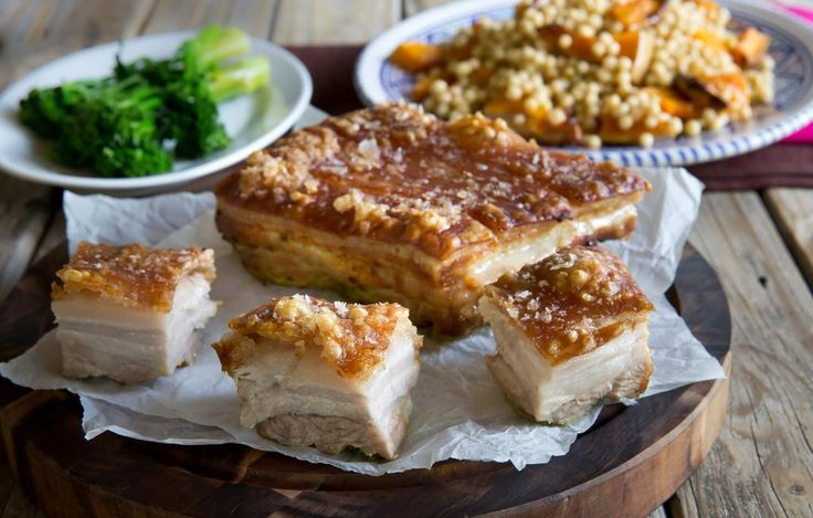 Braised Pork Belly on Minted Pumpkin Cous Cous: This succulent pork belly recipe with a Middle Eastern twist can also be cooked in a slow cooker.  Just crisp up the crackling under the grill before serving.