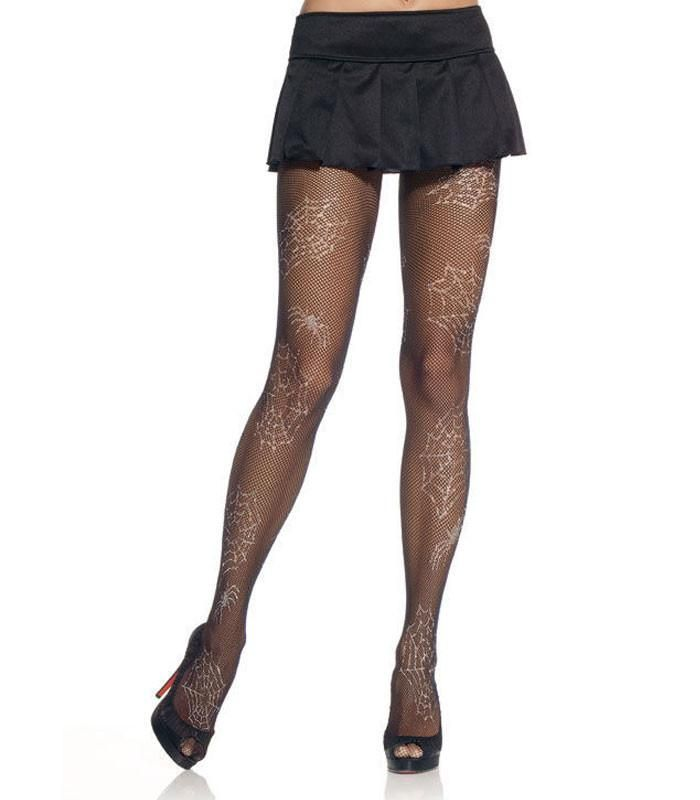 Leg Avenue Fishnet Spiderweb Black Pantyhose - The Atomic Boutique
