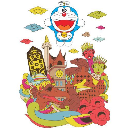Icon yang ada di beberapa daerah/kota yang ada di Indonesia adalah ciri/hal yang menunjukan bahwa itu adalah Indonesia. Ada Doraemon sedang terbang di atasnya, dan dengan paras ekspresi wajah yang bahagia karena telah sampai di Indonesia. #Kaos #Desain #Baju #Design #TShirt #Doraemon #Rupawa