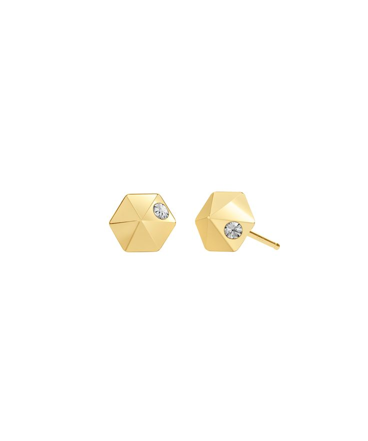 Hexagon micro stud earringswith white topaz accents. 18k gold vermeil. Available as singles or a pair.