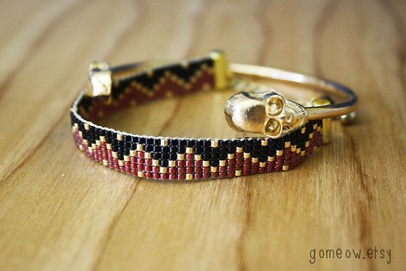 Set of Bracelets - Gold Double Skull Cuff and Black, Dark Red and Gold Beaded Loom Bracelet