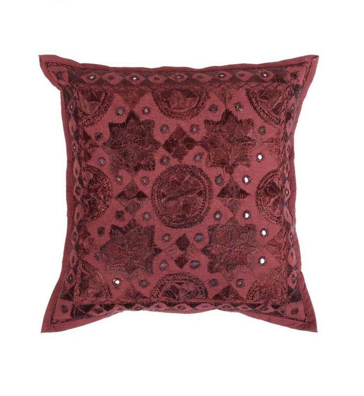 dark maroon red Mirror Embroidered Decorative Sofa Bohemian Pillow Cushion Throw Cover  16*