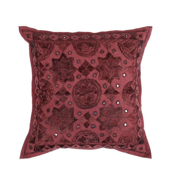 dark maroon red Mirror Embroidered Decorative Sofa Bohemian Pillow Cushion Throw Cover  16*