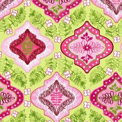 """Pretty in Pink Geometric on Green"" Fabric"