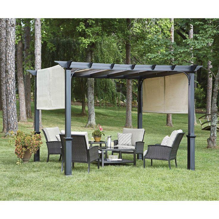 Garden Treasures Matte Black Steel Freestanding Pergola With Canopy Common 7 6 Ft X 10 Ft X 10