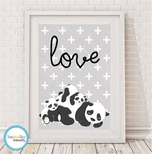 Panda Love Family Print by Bespoke Moments. Worldwide Shipping Available.