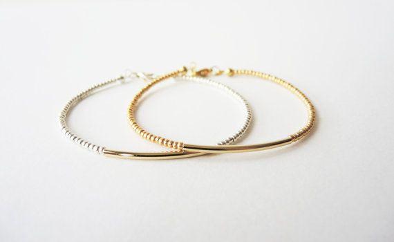 Bracelet de perles bracelet lingot d'or argent par bySiukwan