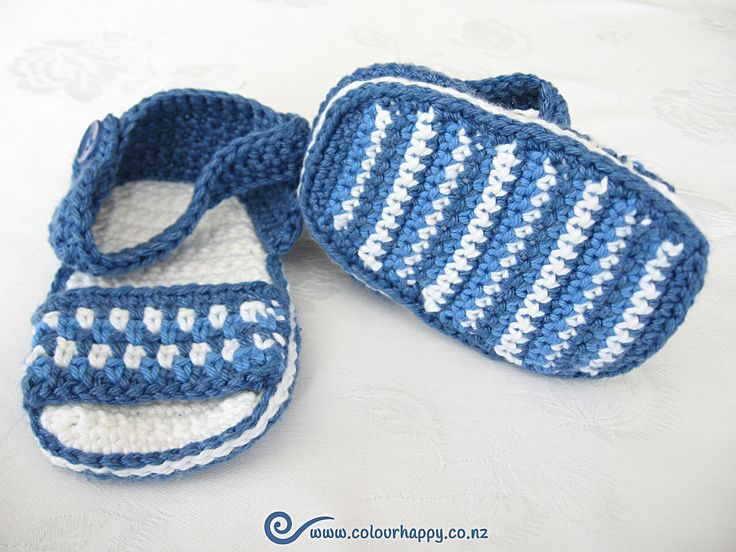 "Blue & White Crochet Baby Sandals ♥Made by Colour Happy / Adele. The ""Multi-Coloured Sandals"" pattern  is by Vita Apala, of Mon Petit Violon."