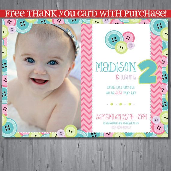 Cute As A Button Birthday Invitation First Party Buttons Printable FREE Thank You Card
