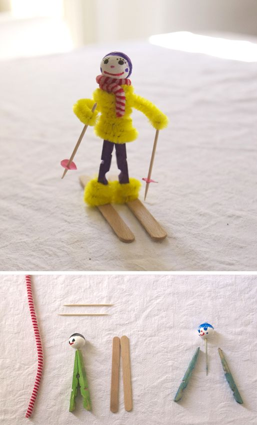 Eine bemalte Kugel wird auf einen Zahnstocher gespießt und zwischen eine auseinander gebaute Wäscheklammer geklebt (Holzleim). Wenn die Figur getrocknet ist, wird diese auf...