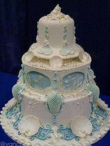 Large White Ocean Theme Wedding Cake