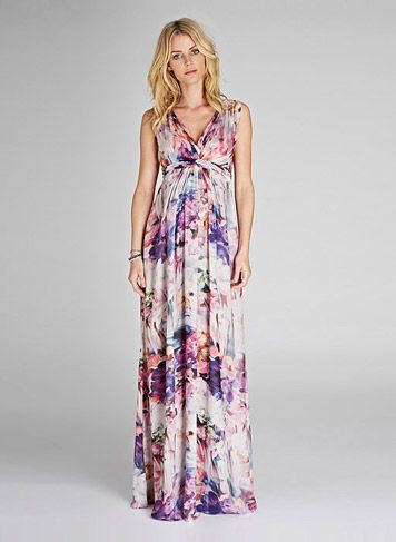 Tilda print maternity maxi dress dresses isabella for Maxi maternity dresses for weddings