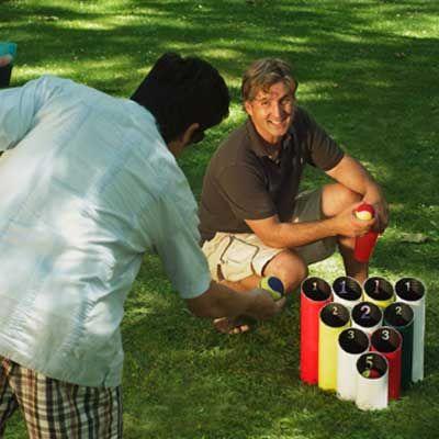 Pipe ball lawn game. DIY.
