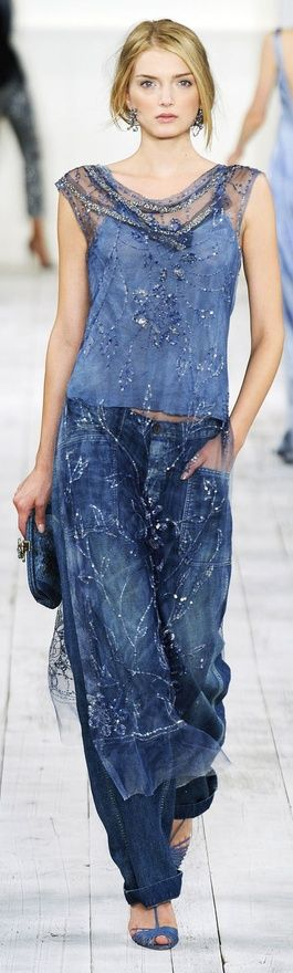 LOVEthis look...if only it came in my size...lol.  Hell, I could probably make something like it!  Sheer tabbard over denim and a cami.