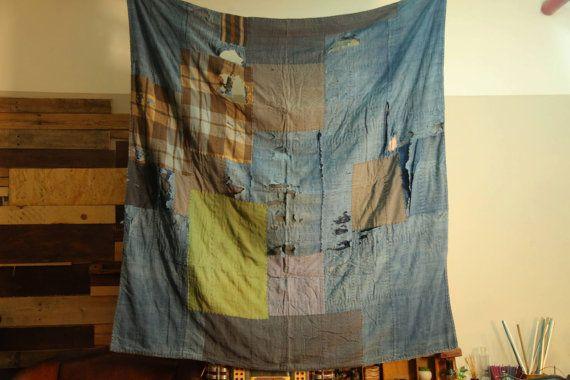 Japanische Indigo Boro Decke 02 von IndigoYard auf Etsy