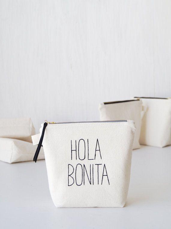 Handmade makeup pouch Hola Bonita. Fun cosmetic bag. Black & white brush holder. Pencil case. Modern women fashion accessories. Etsy Handmade. Fun gift idea