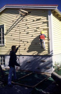 Hmm...might need to do this to the side wall of the addition or on the back yard wall.  Climbing wall