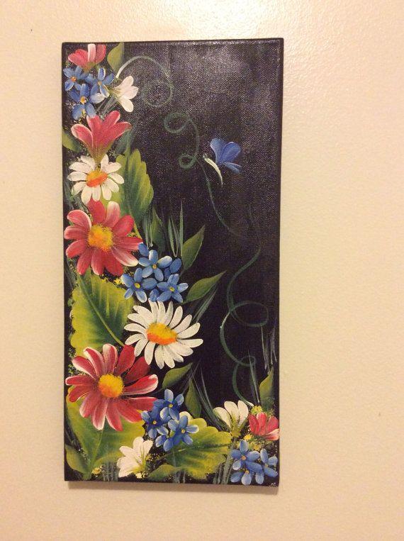 Daisy Hand made original acrylic painting on canvas on Etsy, $25.00