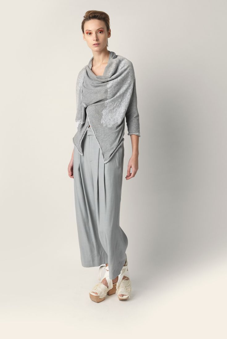Soft collar jersey cotton cardigan Malloni, 3/4 sleeve, asymmetric lacing cross on front with concealed buttons.