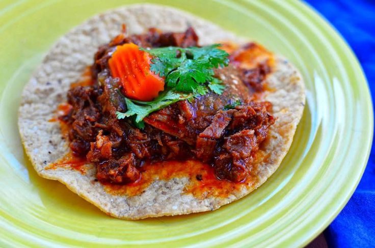 Pressure Cooker Braised Lamb Shoulder Tacos recipe - Cordero Guisado, lamb tacos with a thick chile sauce.