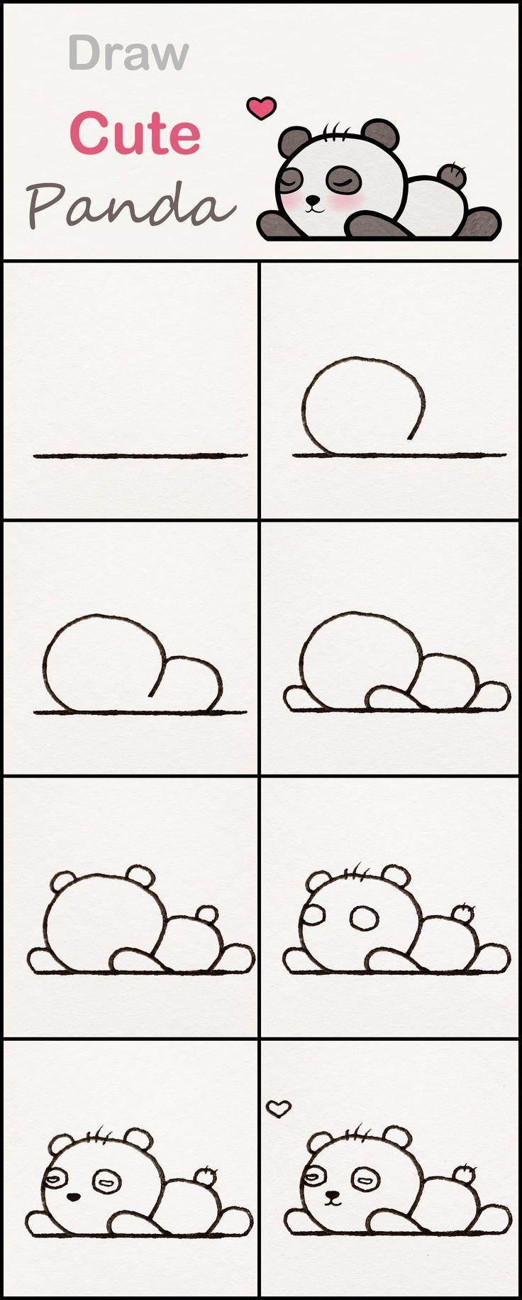 Learn How To Draw A Cute Baby Panda Step By Step Very Simple