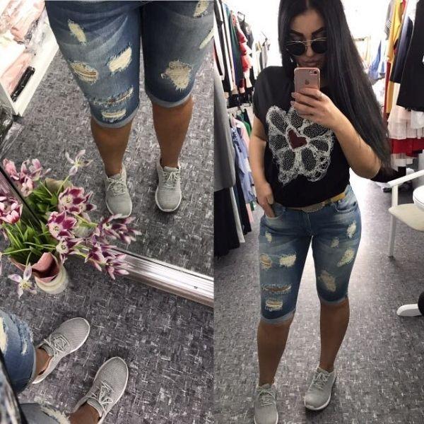 Модные джинсовые капри ,весенне-летний вариант ,в большом размере
