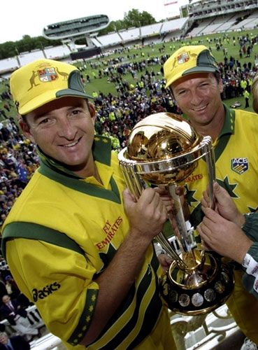 /\ Mark and Steve Waugh with the O.D.I. World Cup after winning the tournament for the third time in a row in the West Indies in 2007.