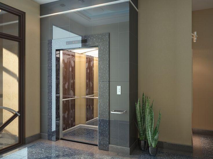 Декоративная отделка лифта - Дизайн холла жилого дома по ул.Пржевальского