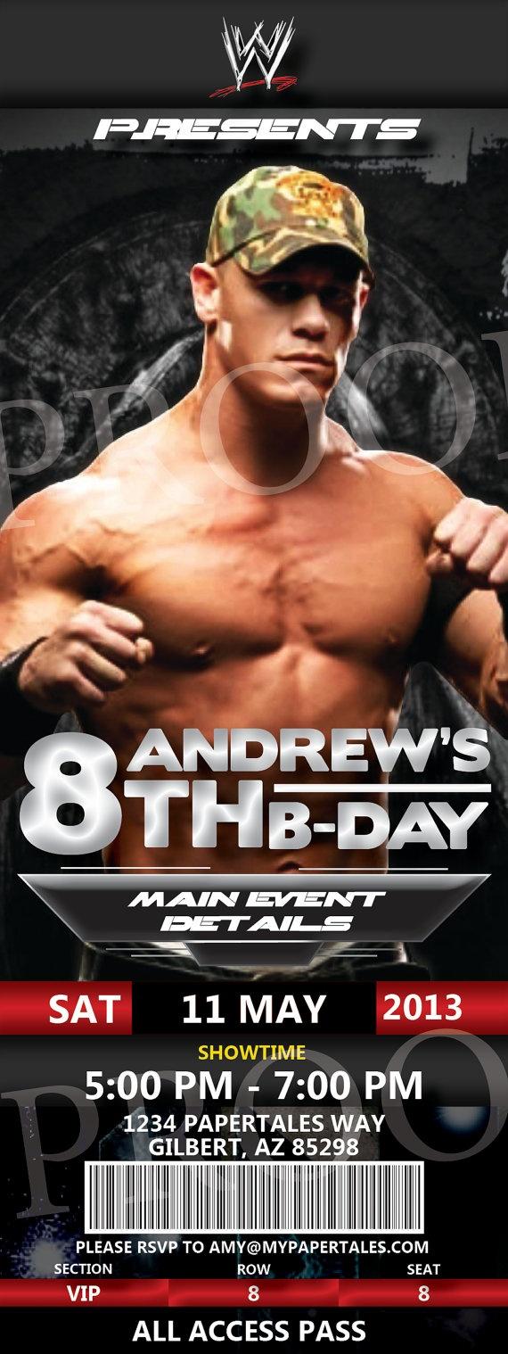 WWE John Cena Birthday Invitation by PaperTalesCustom on Etsy, $35.00