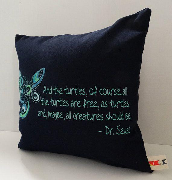 Sunbrella 14x14 Pillow Cover, Embroidered Turtle Pillow, Throw Pillow, Indoor Outdoor Navy Sunbrella Pillow Cover With Turtle Embroidery on Etsy, $44.79 CAD