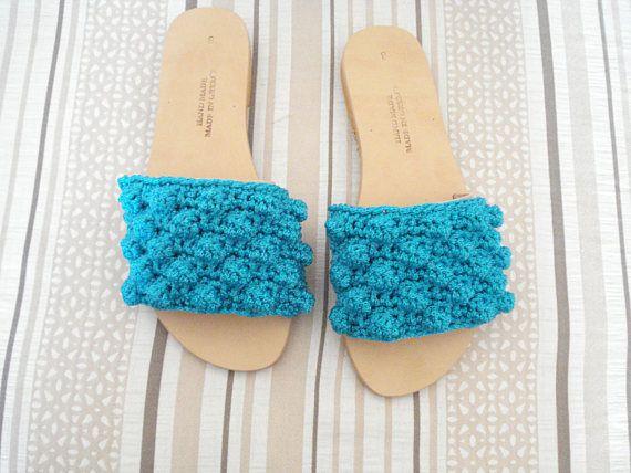 Turquoise sandals Bubble crochet leather shoes Greek flat