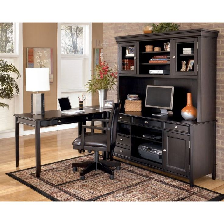 ashley carlyle x corner lshape desk with tall hutch and chair