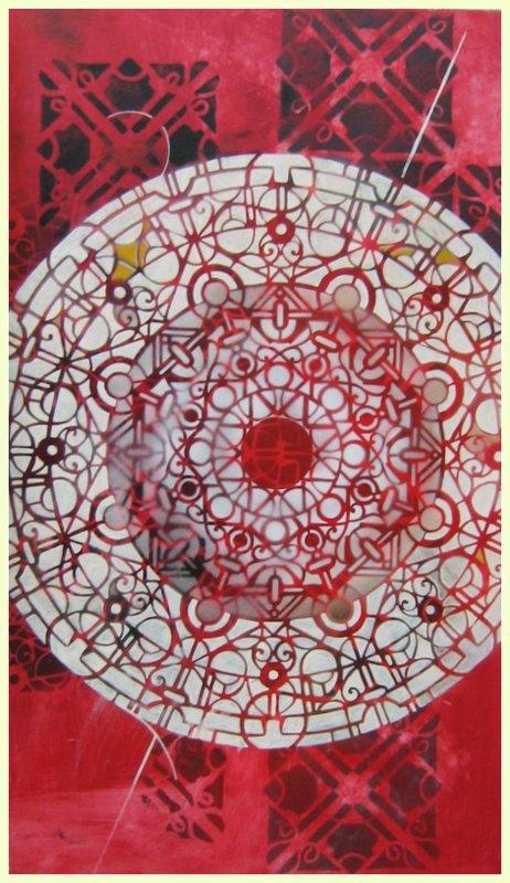 gloria recanatini  spray and enamel on canvas.  mandala - stencil - red