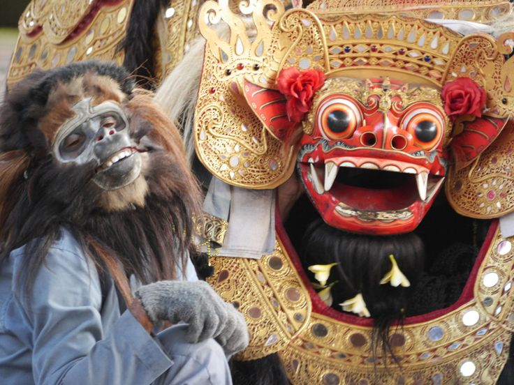 The Barong and his friend the monkey - Sahadewa Barong and Kris Dance, Bali, Indonesia