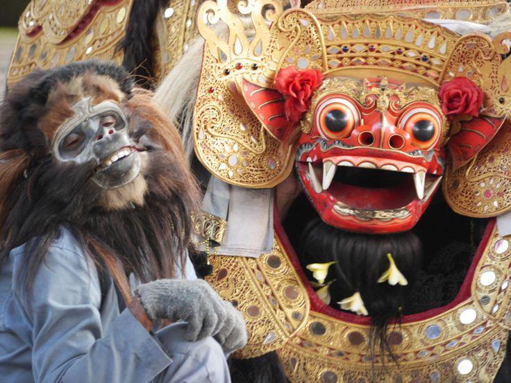 The Barong and his friend the monkey - Sahadewa Barong and Kris Dance, Bali, Indonesia